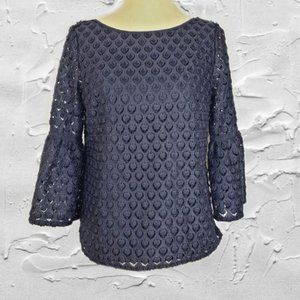 RSVP by Talbots Blue Eyelet Pullover Top Sz Sp